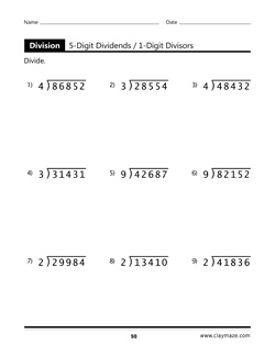 5 Digit Dividends Workbook Page