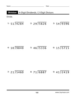 4 Digit Dividends Workbook Page