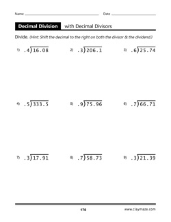 decimal division with decimal divisors worksheet from book