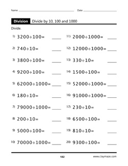 Divide by 10, 100 and 1000 Workbook Page