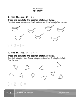 Addition Problems Kindergarten Math Book Page