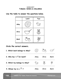 Learning Tables Kindergarten Math Book Page