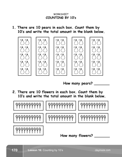 Counting by 10s Kindergarten Math Book Page