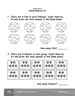 Counting by 5s Kindergarten Math Book Page