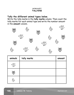 Tallying Kindergarten Math Book Page