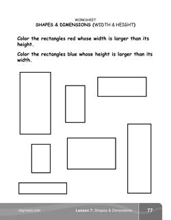 Shapes and Dimensions Kindergarten Math Book Page