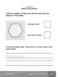 Regular Polygons Kindergarten Math Book Page