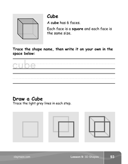 Cube Shapes Kindergarten Math Book Page