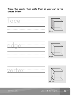 Tracing Words Kindergarten Math Book Page