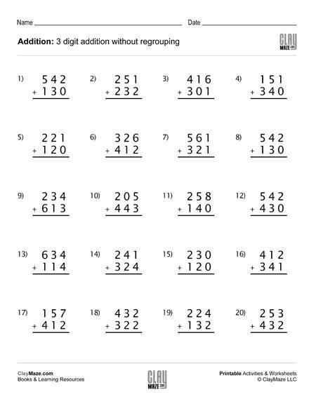 3 digit addition no regrouping