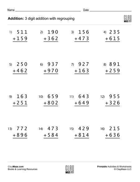 3 digit addition problems with regrouping