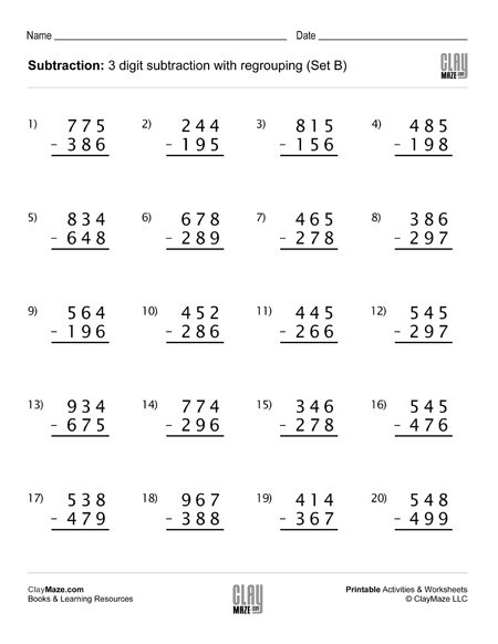 Subtraction Worksheet – 3 Digit Subtraction with Regrouping ...