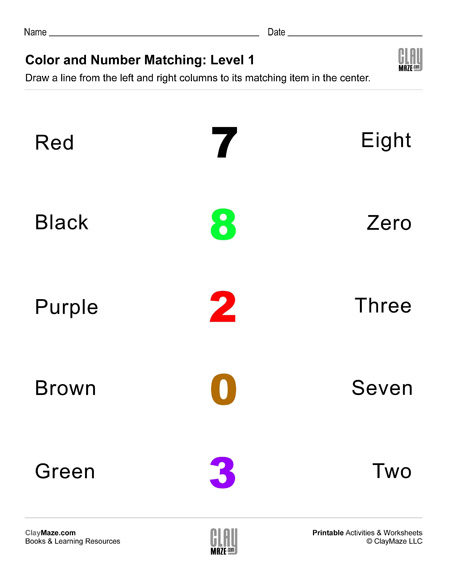 match colors and numbers