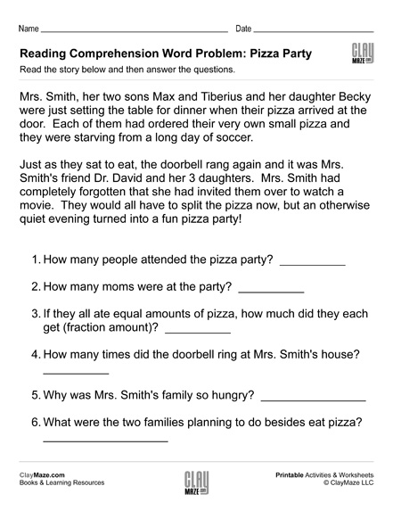 reading comprehension word problems