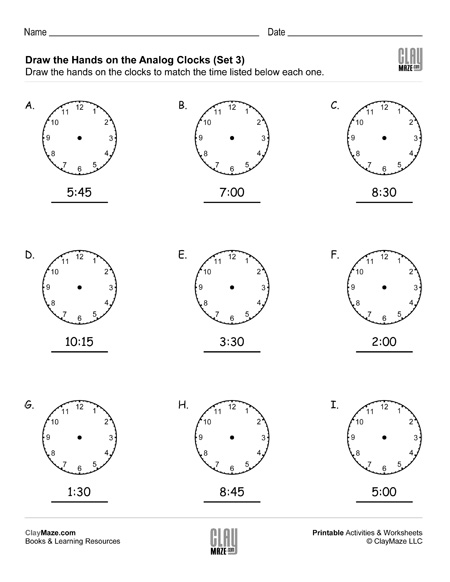 draw the hands on analog clock