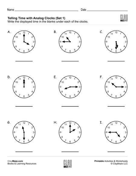 telling time reading analog clocks