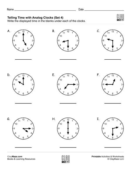 telling time reading analog clocks