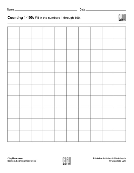 Counting Chart 1 to 100 (blank) – Childrens Educational Workbooks ...