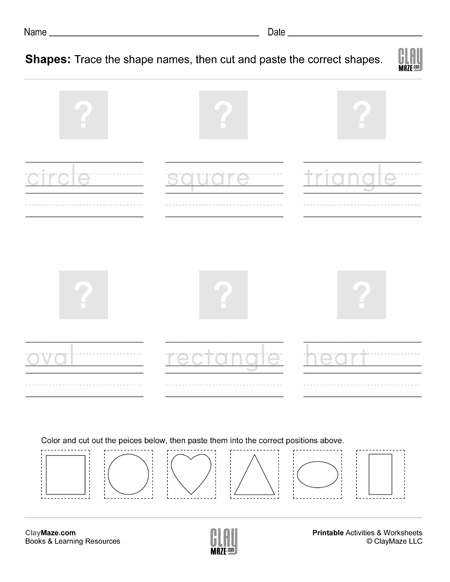 cut and paste shapes trace and write worksheet