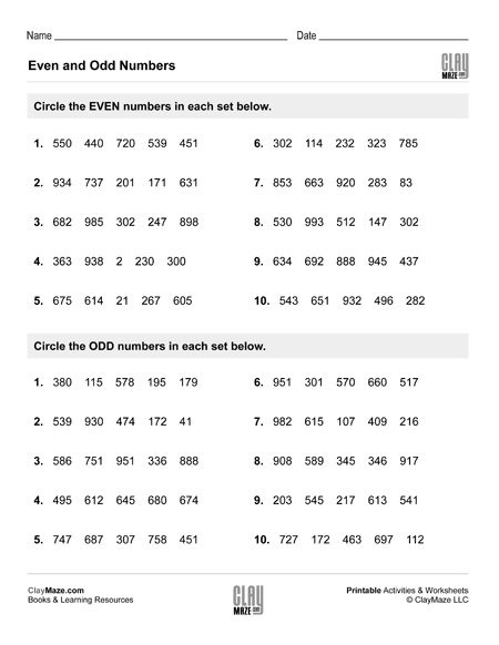 even numbers and odd numbers worksheet