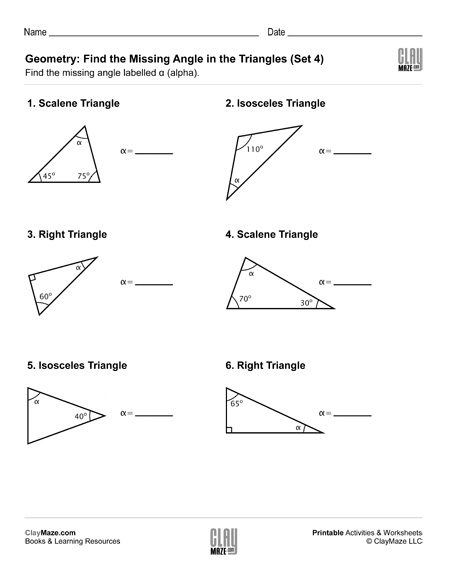 geometry triangles missing angle worksheet