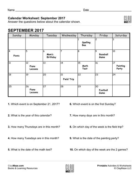 calendar worksheet