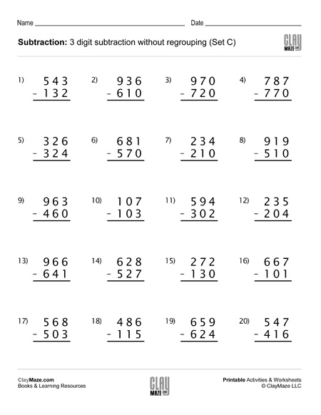 Subtraction Worksheet - 3 Digit Subtraction Without ...