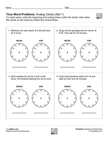time word problems with analog clocks